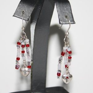 Beautiful red and white heart cross earring dangle